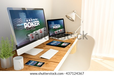 Digital generated devices over a wooden table with poker responsive concept. All screen graphics are made up. 3d rendering - Shutterstock ID 437124367