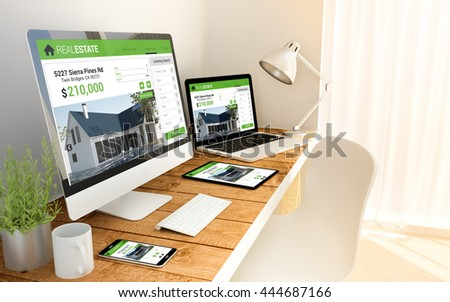 Digital generated devices over a wooden table with real estate responsive website. All screen graphics are made up.  - Shutterstock ID 444687166