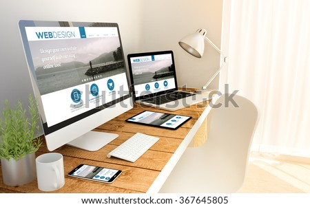 Digital generated devices over a wooden table with responsive design website. All screen graphics are made up. 3d illustration. stock photo