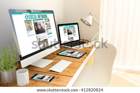 Digital generated devices over a wooden table with social network responsive concept. All screen graphics are made up. 3d illustration. - Shutterstock ID 412820824
