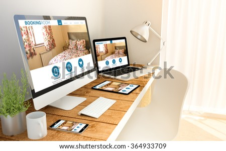 Digital generated laptop, computer, tablet and smartphone over a wooden table with made up responsive booking room website. All screen graphics are made up. 3d illustration. - Shutterstock ID 364933709