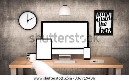 digital generated workplace desktop with blank screen digital tablet, computer, laptop and various office objects