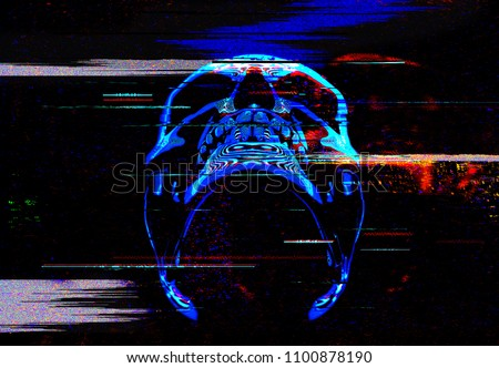 Stock Photo Digital glitch art neon skull illustration of 3D rendering.
