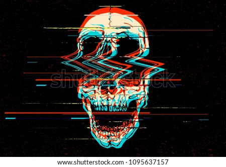 Digital glitch screaming skull illustration in the style of old TV and VHS rgb mode damaged signal.