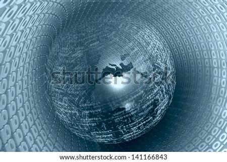 Digital globe on the tunnel - abstract computer background in blues.