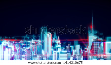 Digital glowing New York city hologram on dark background. Urban and innovation concept. 3D Rendering