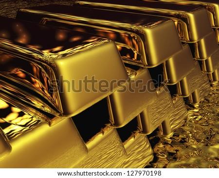 Digital Gold Bullions - stock photo