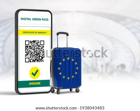 Digital green certificate screen with QR code, which allows European Union countries to travel among themselves due to Covid 19, European Union flag travel bag and flu airport. 3D Render illustration