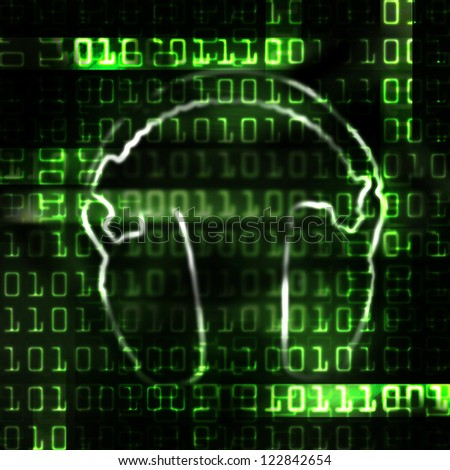 digital headphones and binary code techno abstract illustration