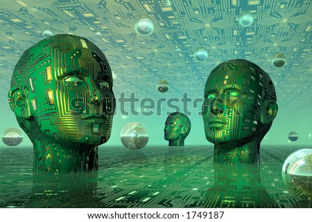 Digital heads in cyber space