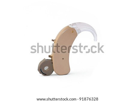 Digital hearing aid with open battery holder on white background. Clipping path included.