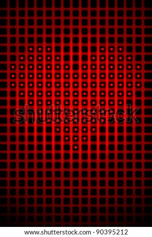 Digital heart shape romantic love abstract background illustration.