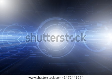 Digital hud and futuristic circle circuits grid line patterns with flare rays effect abstract dark blue high tech technology background.