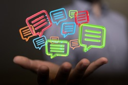 Digital icons with colorful dialog speech bubbles.