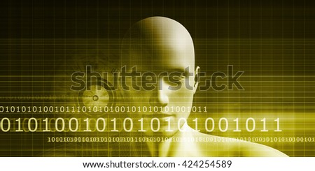Stock Photo Digital Identity with an Android Faceless Head Art 3d Illustration Render