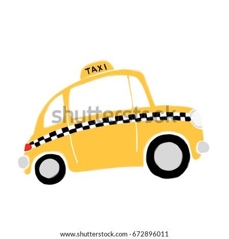 Digital illustration. Cartoon yellow taxi in profile