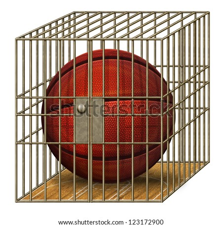 Digital illustration of a basketball in a jail cell.