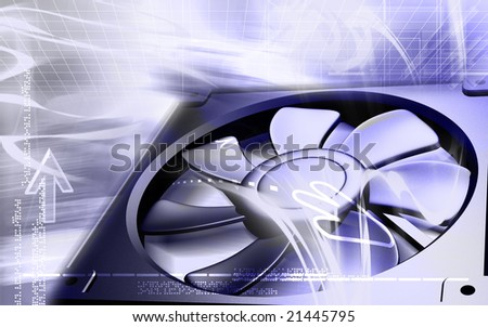 Digital illustration  of a computer cooling fan