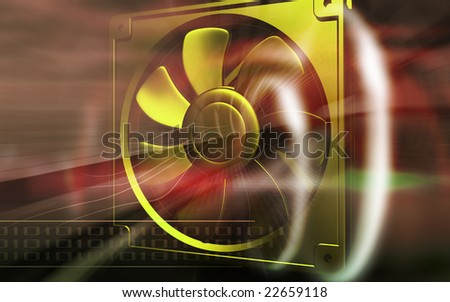 Digital illustration of a computer cooling fan