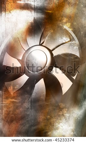 Digital illustration  of a computer cooling fan  - stock photo