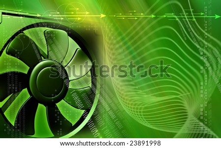 Digital illustration  of a computer cooling fan in green colour  - stock photo