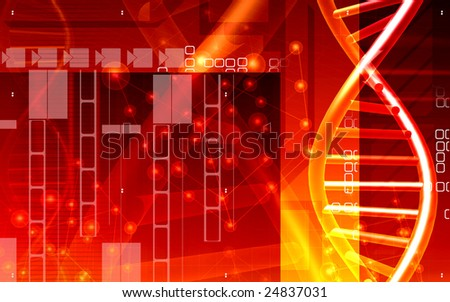 Digital illustration of a DNA and cells