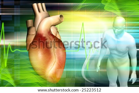 Digital illustration of a Heart and human body