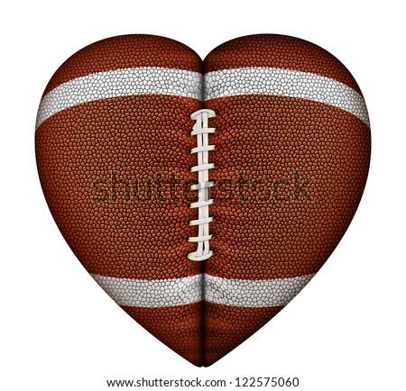 Digital illustration of a heart-shaped football.
