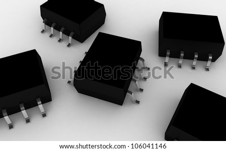 digital illustration of a IC chip in white background