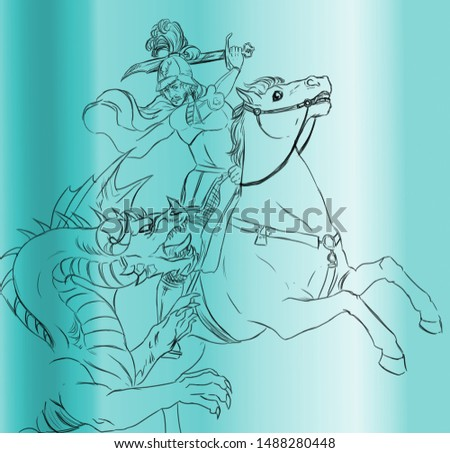 Digital illustration of a knight on horseback fighting with a dragon, inspired by the Renaissance painting