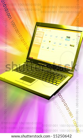 Digital illustration of a laptop in red and violet lights 	 - stock photo