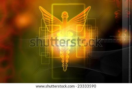 Digital illustration of a medical logo in brown colour