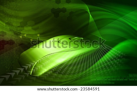 Digital illustration of a mouse transmitting waves