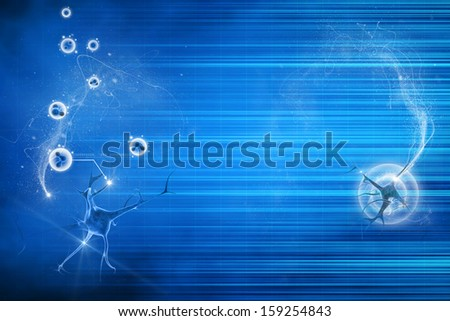 digital illustration of a neuron in blue background