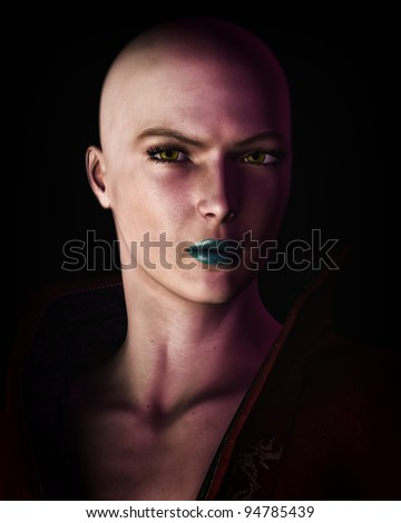 Stock Photo Digital illustration of a strong, futuristic sci-fi looking bald woman in heavy dark shadow.