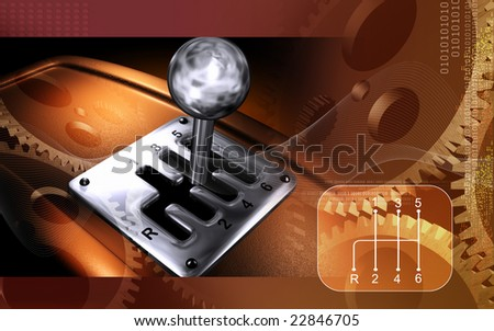 Digital illustration of a vehicle gear lever movement