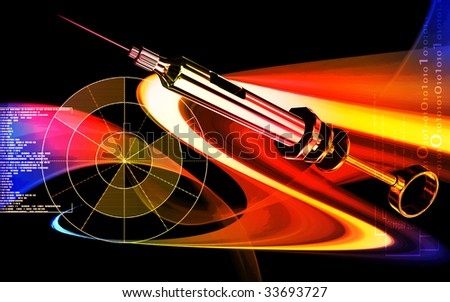 Digital illustration of a  Veterinary surgical syringe	 - stock photo