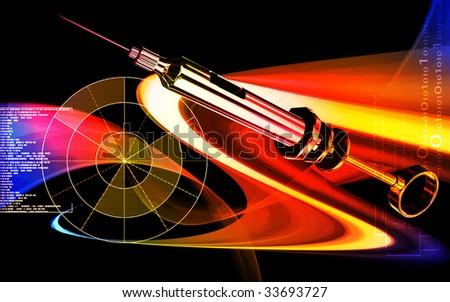 Digital illustration of a  Veterinary surgical syringe