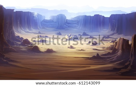 digital illustration of abandoned desert land canyon landscape view environment
