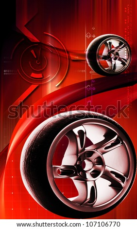 Digital illustration of Alloy wheel in colour background