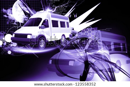 Digital illustration of  ambulance  in  colour  background