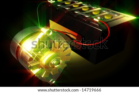digital illustration of an alternator charging a automobile battery
