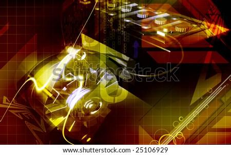 Digital illustration of an alternator charging a automobile battery