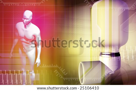 Digital illustration of an inhaler used by asthma patients and human body - stock photo