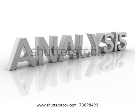 Digital illustration of analysis in 3d on white background