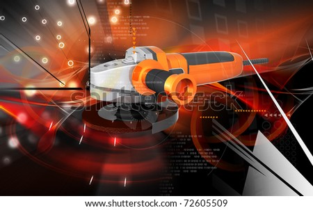 Digital illustration of angle grinder in colour background	 #72605509