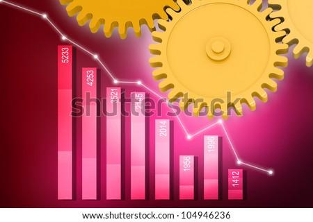 digital illustration of Bar chart production - stock photo