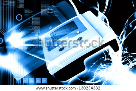 Digital illustration of  blood pressure monitor in colour  background - stock photo