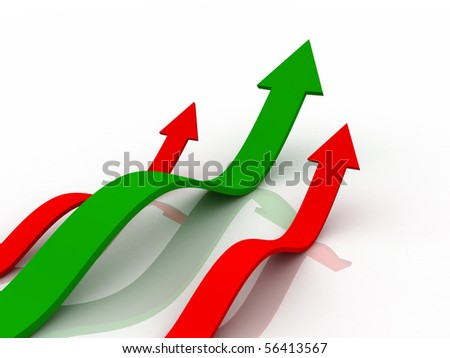 Digital illustration of  business graph in 3d on white background - stock photo