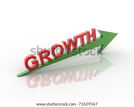 Digital illustration of Business Graph in 3d on white background